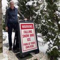 Warning Falling Snow and Ice Sign