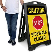 STOP Sidewalk Closed Caution Sign