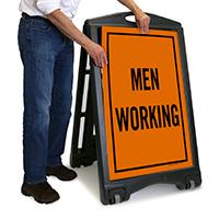 Men Working Sidewalk Sign