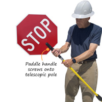 Stop paddle can be screwed onto pole that can be adjusted to any length