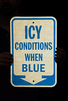 Icy Conditions When Blue Down Arrow Sign