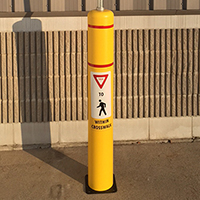 FlexBollard with Signpost: Pedestrian Crossing Post - 52in. Flexbollard with 8ft Signpost