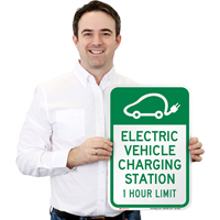 Electric Vehicle Charging Station Hour Limit Signs