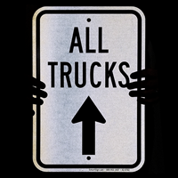 All Trucks Move Ahead with Up Arrow Sign