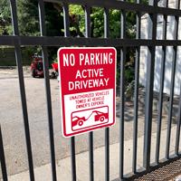 No Parking, Active Driveway Signs