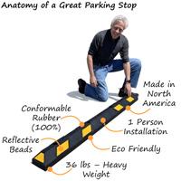 Rubber parking stop features