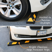 Wheel stops with warning chevrons