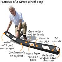 Wheel rubber parking stop features