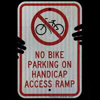 Handicap Access Ramp Sign with  No Bike Parking