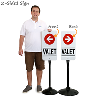 Portable valet parking sign with arrows