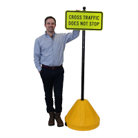Yellow Big Boy XL Roll 'n' Pole Portable Sign Holder