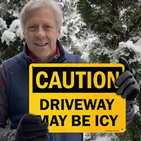 Icy driveway sign