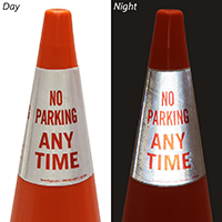 No Parking Any Time Cone Message Collar Sign