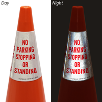 No Parking Stopping Or Standing Cone Message Collar Sign