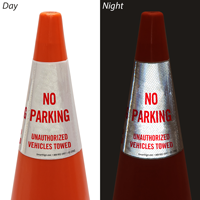 Unauthorized Vehicles Towed Cone Message Collar Sign