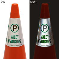 Valet Parking Cone Message Collar Sign