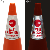 Stop Valet Parking Complimentary Cone Message Collar Sign