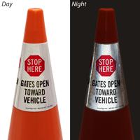Gates Open Toward Vehicle Cone Collar Sign