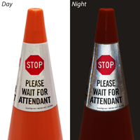 Stop Please Wait For Attendant Cone Message Collar Sign