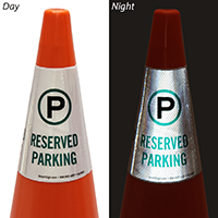 Reserved Parking Cone Message Collar Sign