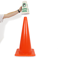 Reserved Parking Cone Sign