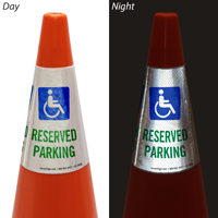 Parking With Handicapped Symbol Cone Collar Sign