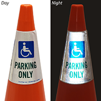 Handicapped Parking Only Cone Message Collar Sign