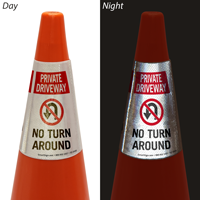 Private Driveway No Turn Around Cone Message Collar Sign