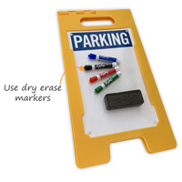 A-Frame parking sign with dry erase finish