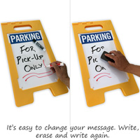 Changeable a-frame sign with a dry erase coating