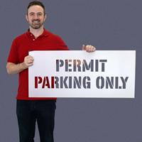 Permit Parking Only Pavement Stencil