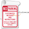 Custom No Parking Vehicles Towed Sign Book