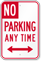 No Parking Any Time, Bidirectional Arrow Sign