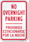 Bilingual No Overnight Parking Sign