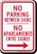 Bilingual No Parking Between Signs, Right Arrow