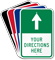 Customizable Parking Lot Directions Sign, Ahead Arrow