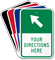 Custom Parking Lot Directions Sign, Ahead Left Arrow