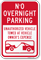 No Overnight Parking Vehicles Towed Sign