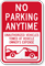 No Parking Anytime, Unauthorized Vehicles Towed Sign