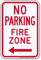 No Parking, Fire Zone, Left Arrow Sign