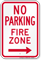 No Parking, Fire Zone, Right Arrow Sign