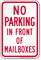 No Parking In Front Of Mailboxes Sign