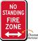 No Standing, Fire Zone Sign, Bidirectional Arrow
