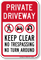 Private Driveway, Keep Clear, No Trespassing Sign