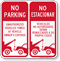 No Parking Unauthorized Towed Owners Expense Bilingual Sign